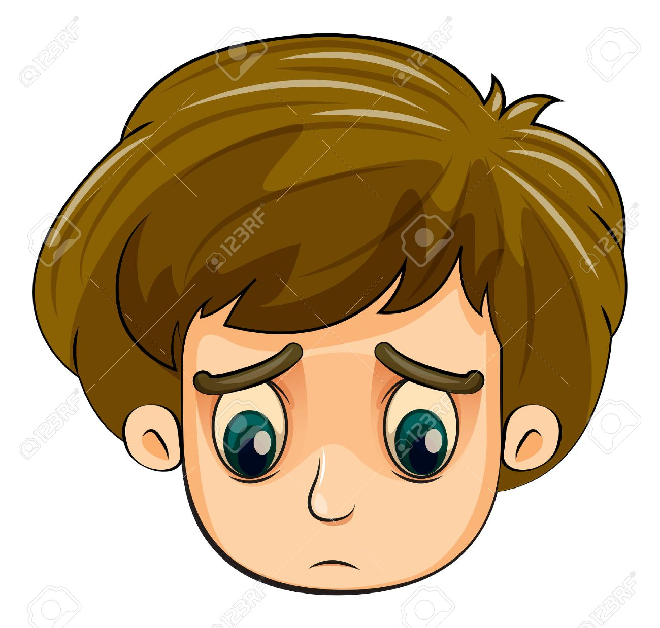 Illustration of a head of a sad young boy on a white background Stock Vector - 23198900