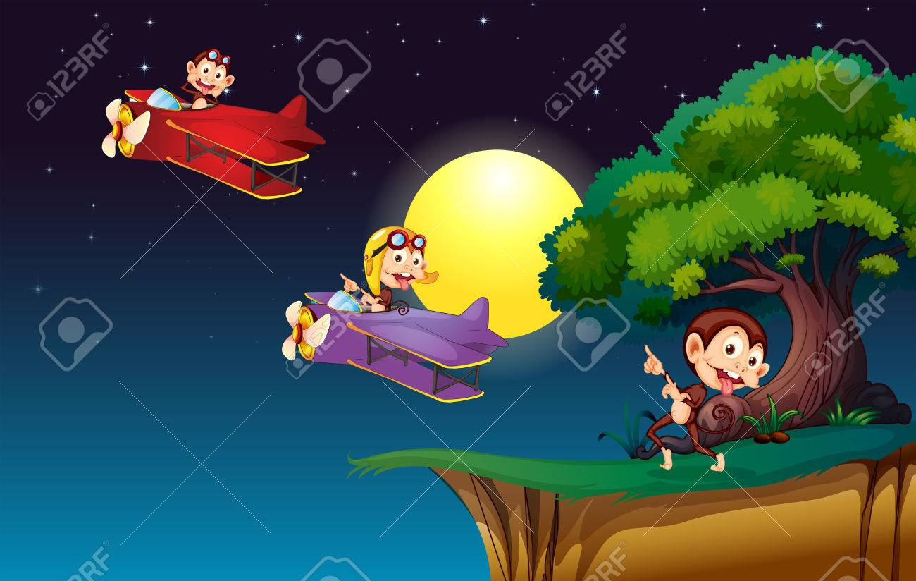 Illustration of the monkeys on a plane flying near the cliff Stock Vector - 23823076