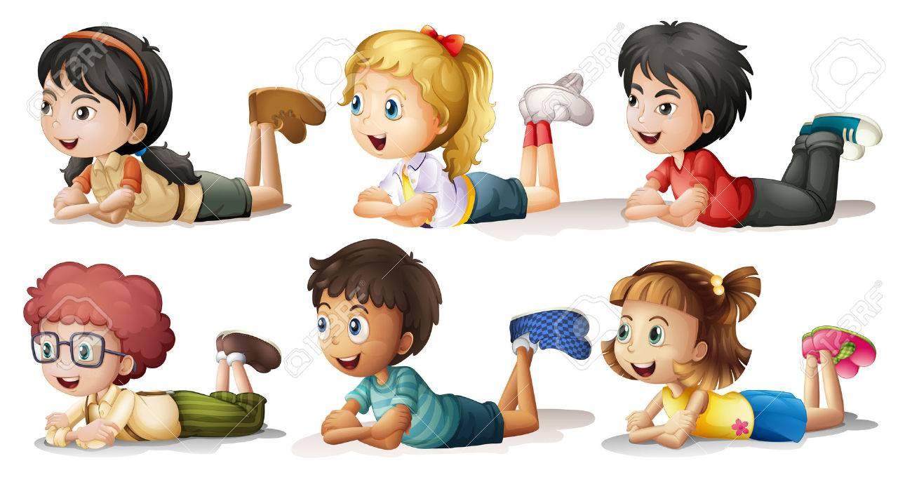 白い背景の上の 6 人の子供のイラストのイラスト素材ベクタ Image