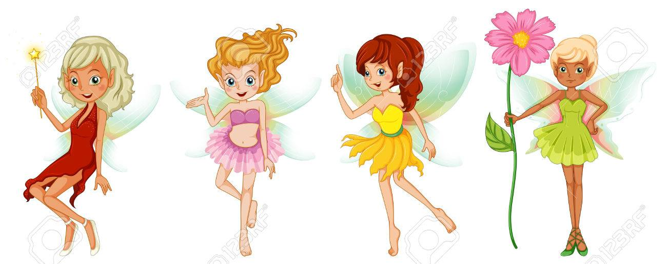 Illustration of the four cute fairies on a white background Stock Vector - 23823130