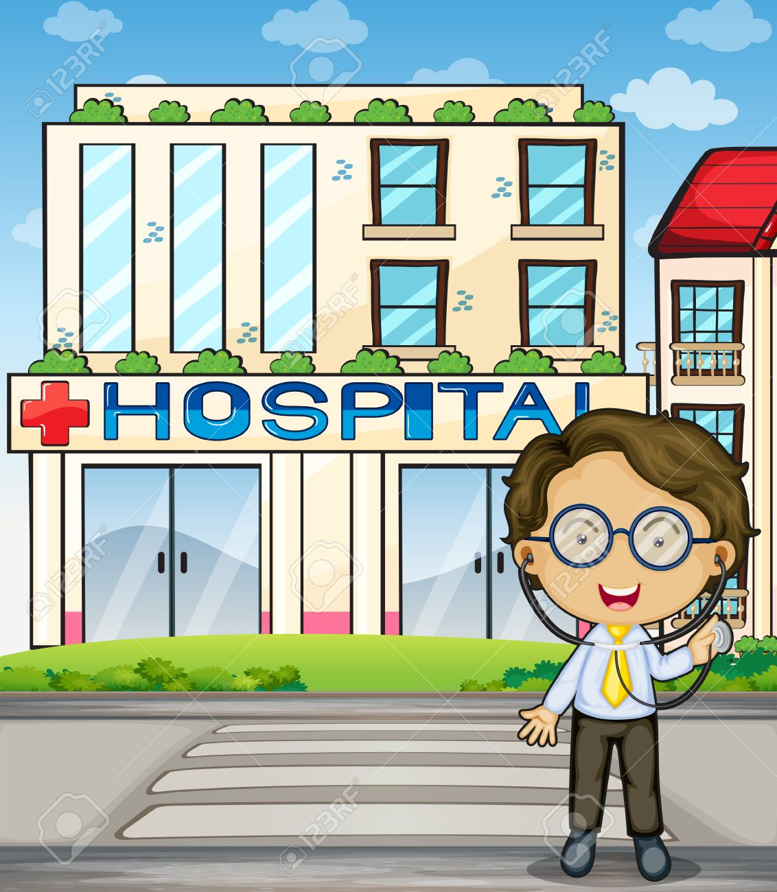 Illustration of a doctor in front of the hospital Stock Vector - 23823263