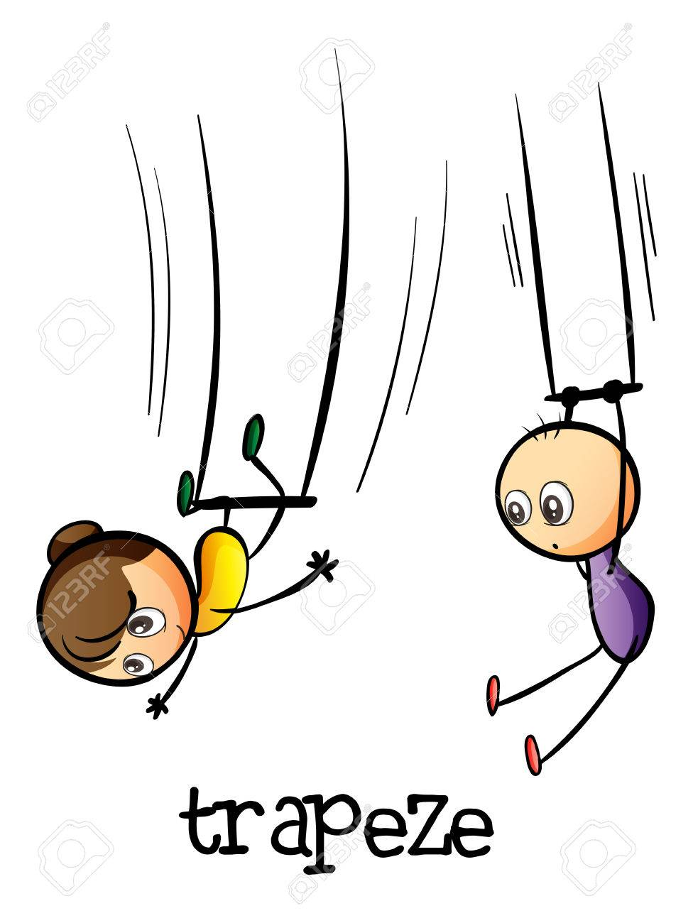 illustration of a trapeze show on a white background royalty free rh 123rf com Trapeze Cartoon flying trapeze clipart