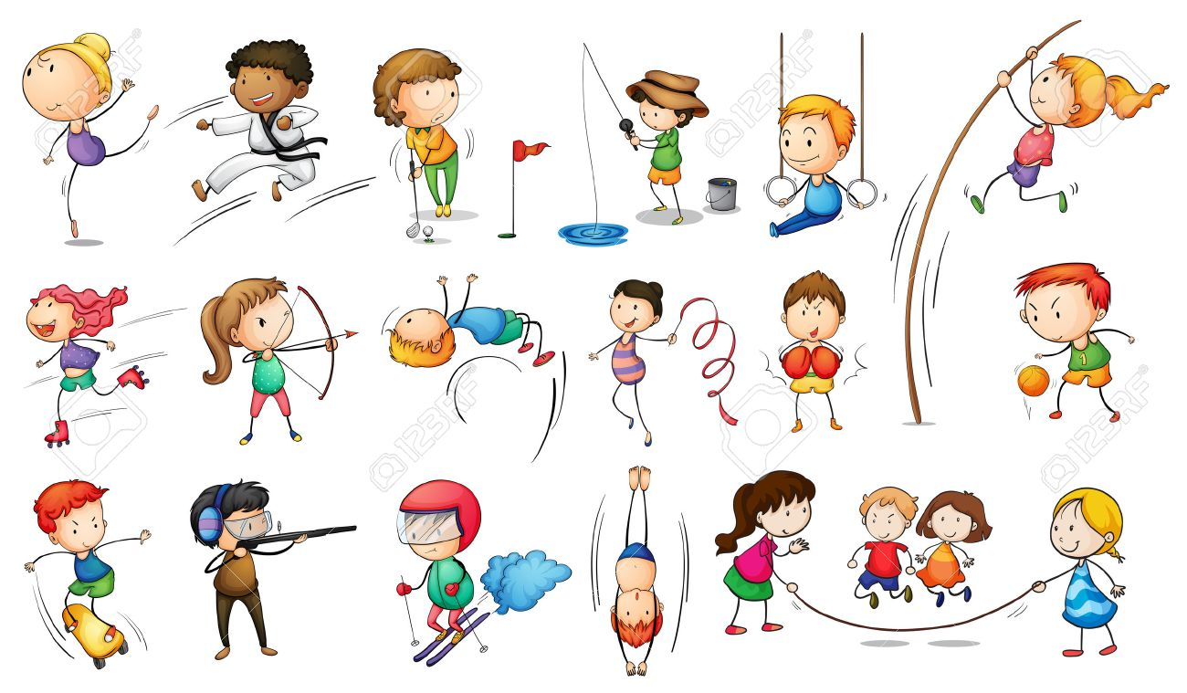 Illustration Of The Kids Engaging In Different Sports On A White ...
