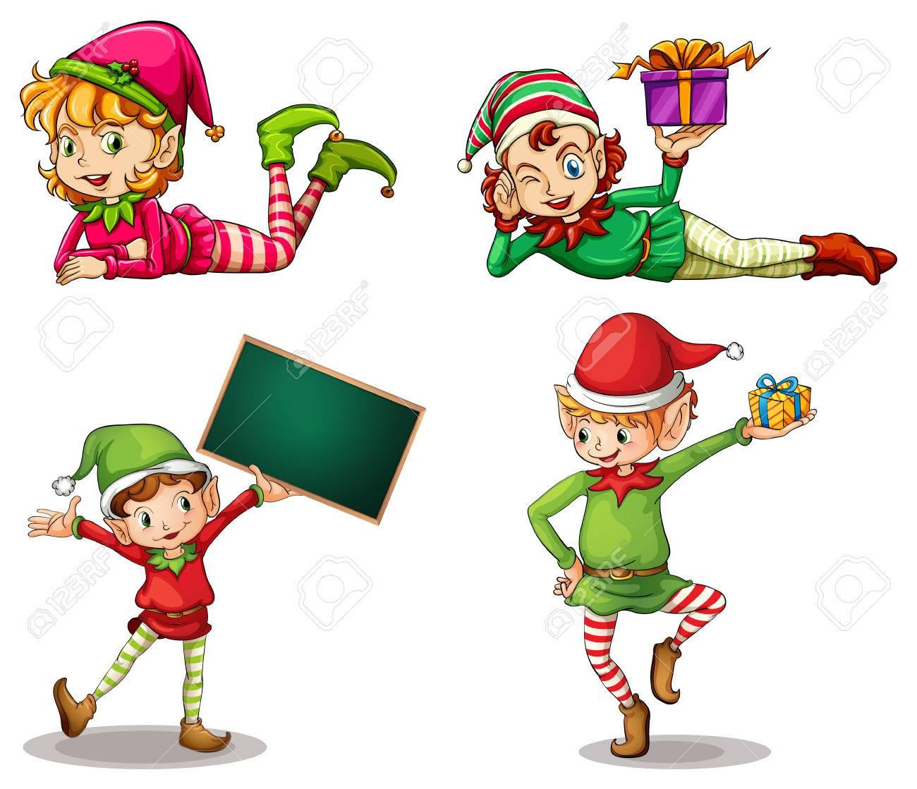 Illustration des nains portant des chapeaux de Noël et un écriteau vide sur un fond blanc