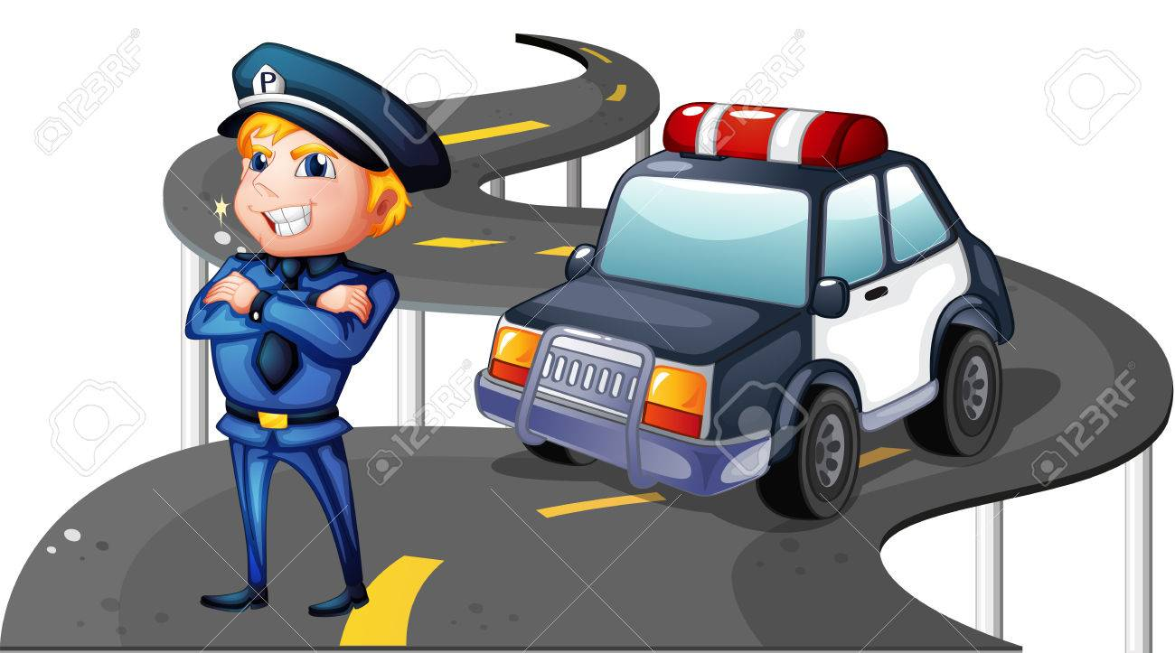 Illustration of a police and his patrol car in the middle of the road on a white background Stock Vector - 25165809