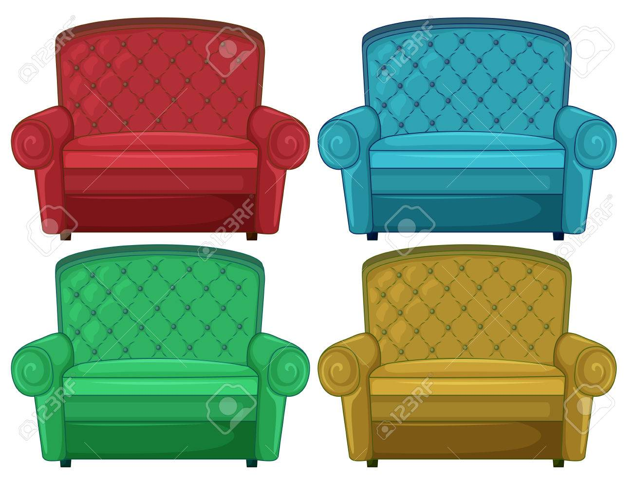 Illustration of the four colorful couches on a white background Stock Vector - 25166023