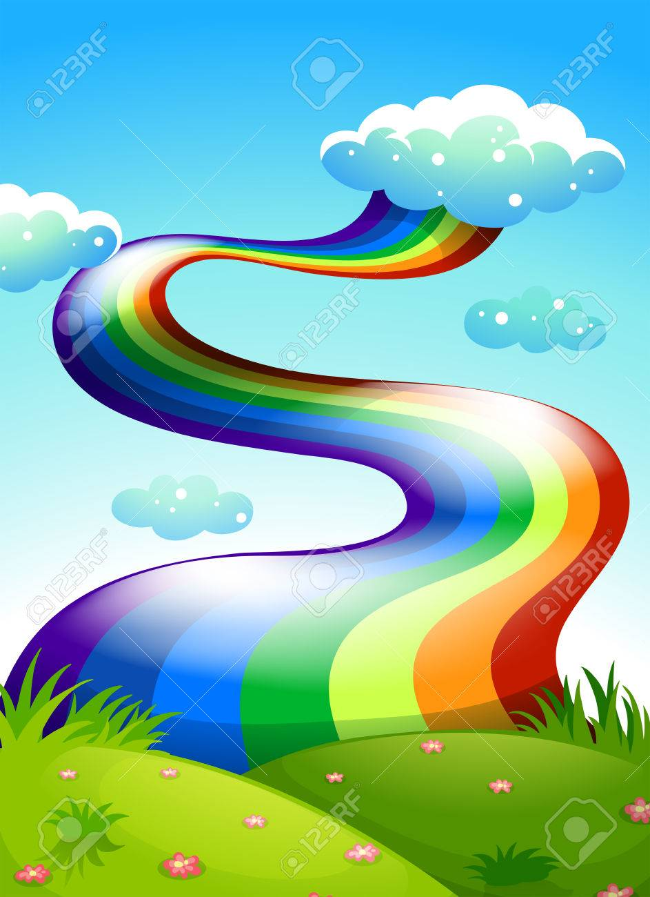 Illustration of a rainbow in the clear blue sky Stock Vector - 25531965