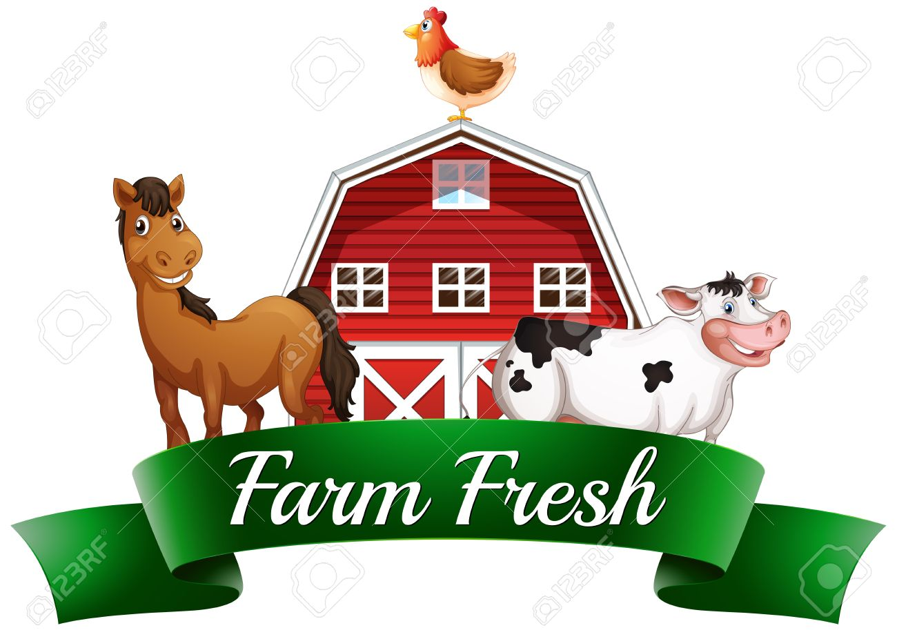 Illustration Of The Farm Animals A Barnhouse And Signboard On White Background Stock
