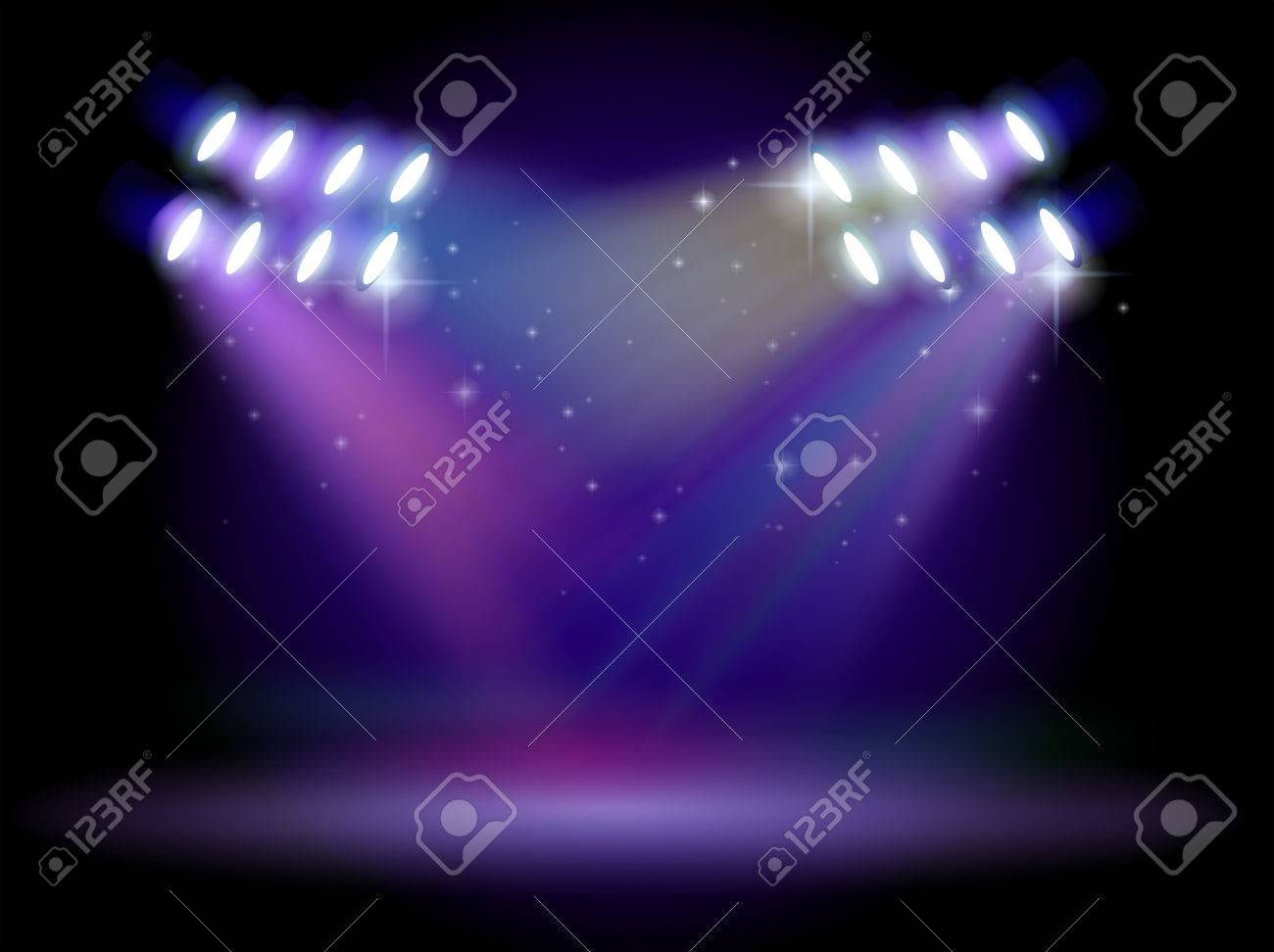 Illustration Of An Empty Stage With Lights Stock Vector