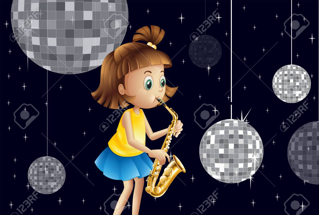 Illustration of a girl performing inside the disco house Stock Vector - 25985658