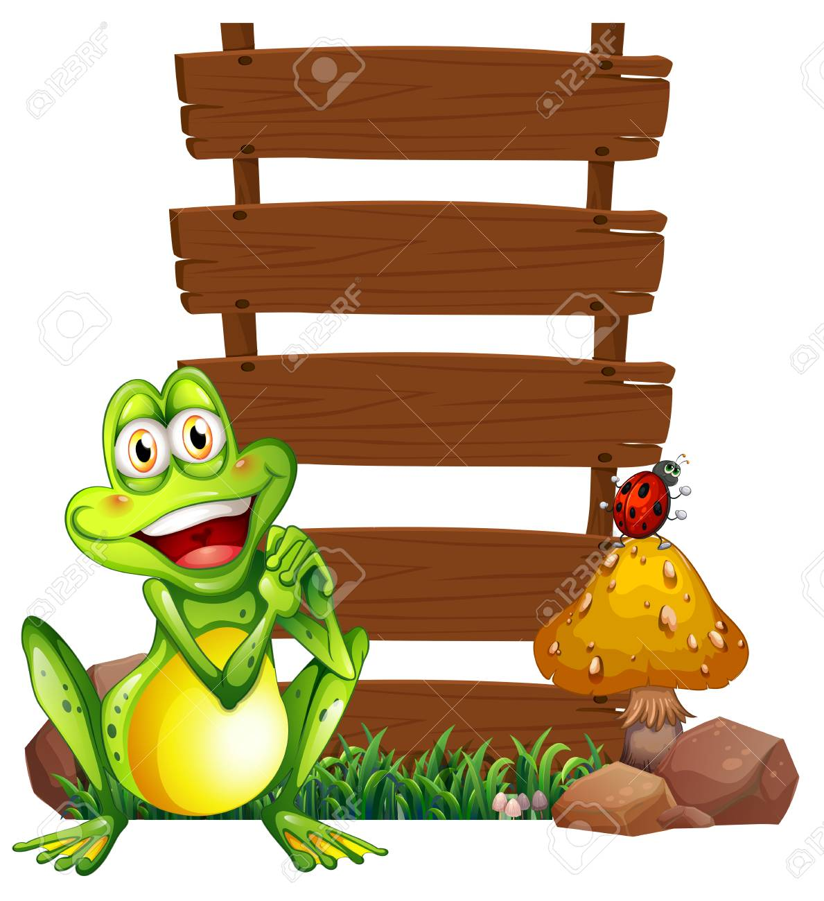 Illustration of a smiling frog in front of the empty signboards on a white background Stock Vector - 26316836