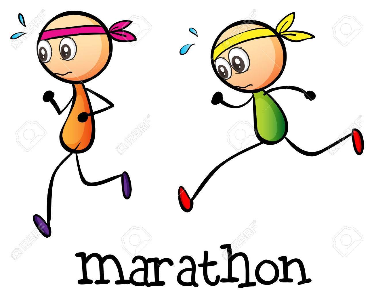 白い背景の上の 2 つの Stickmen 間マラソンのイラストのイラスト素材