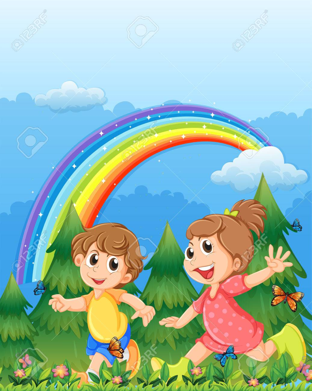 illustration of the kids playing near the garden with a rainbow