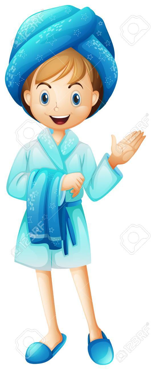 Illustration Of A Fresh Girl With Her Bathrobe On White Background Stock Vector
