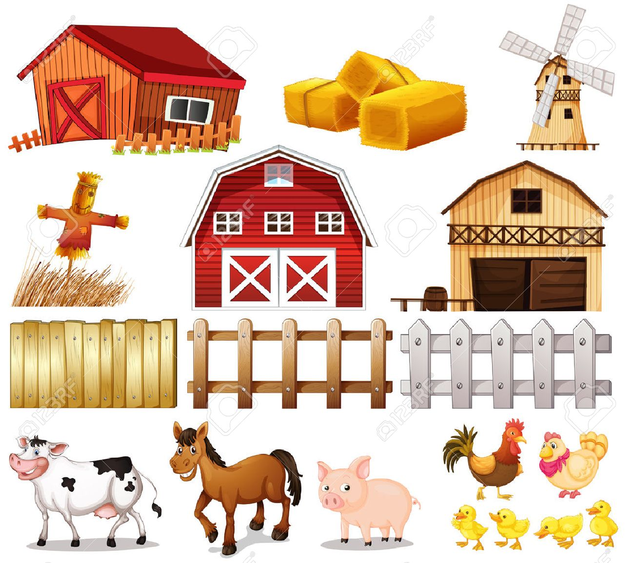 Illustration Of The Things And Animals Found At Farm On A White Background Stock Vector