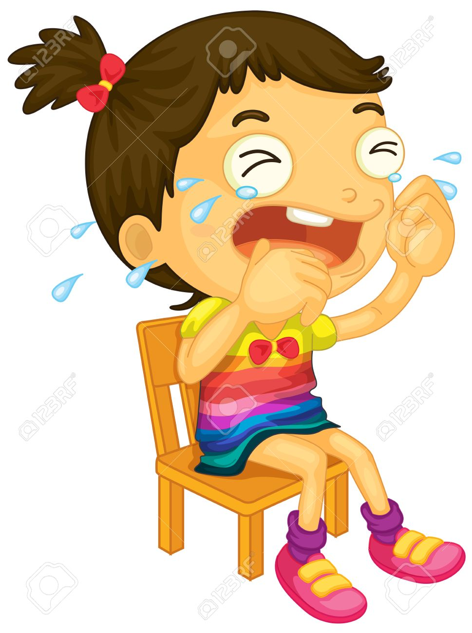 Illustration Of A Young Girl Crying On A White Background Royalty ...