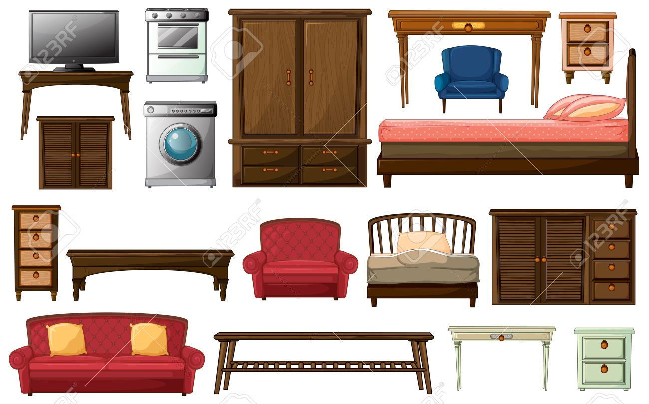 Illustration Of The House Furnitures And Appliances On A White  # Muebles White House