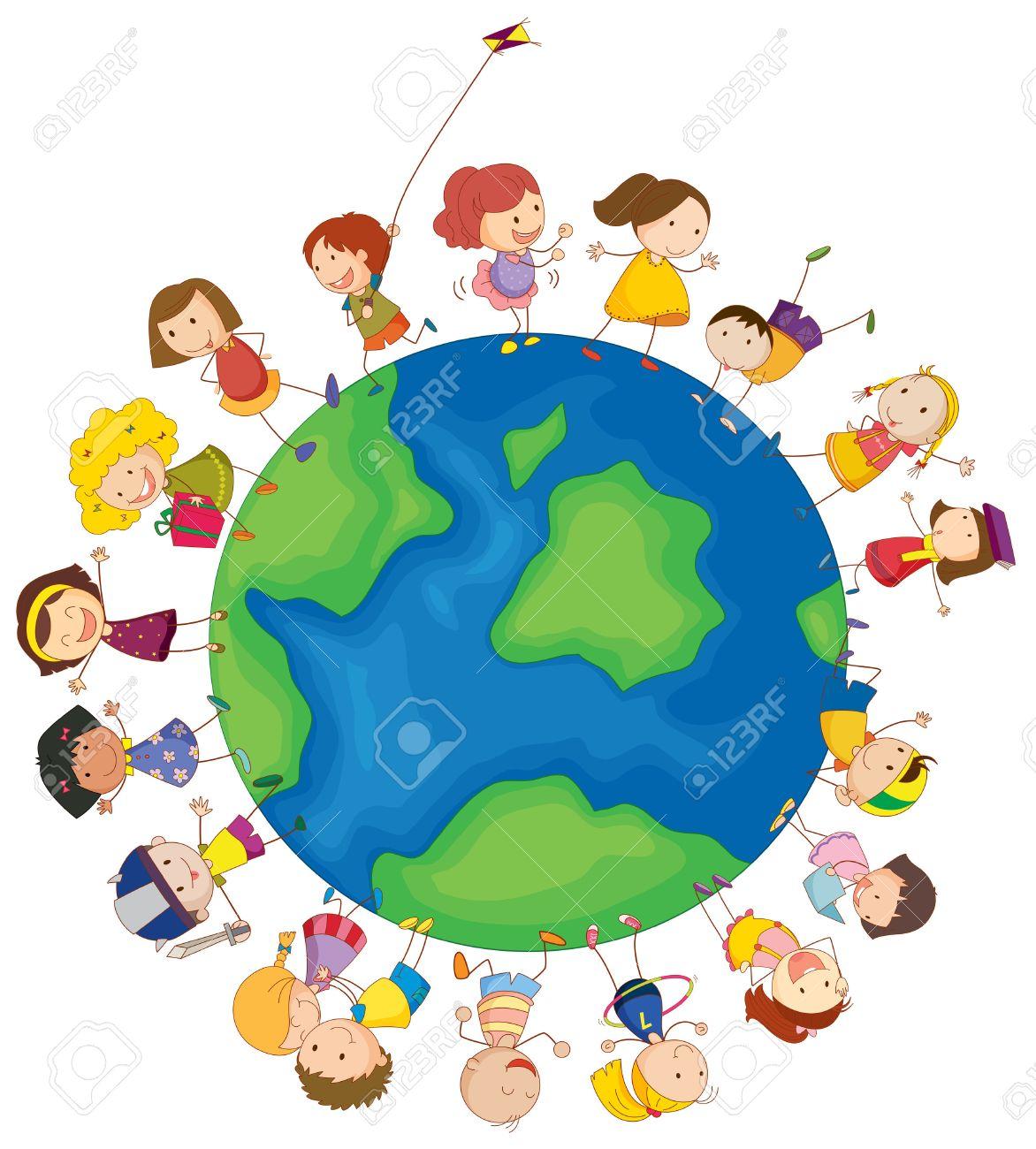 白の背景に世界中の子供たちのイラストのイラスト素材・ベクタ - Image ...