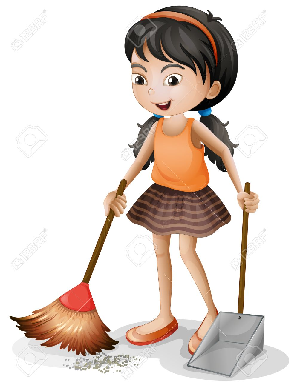 Illustration of a young girl sweeping on a white background - 27137740