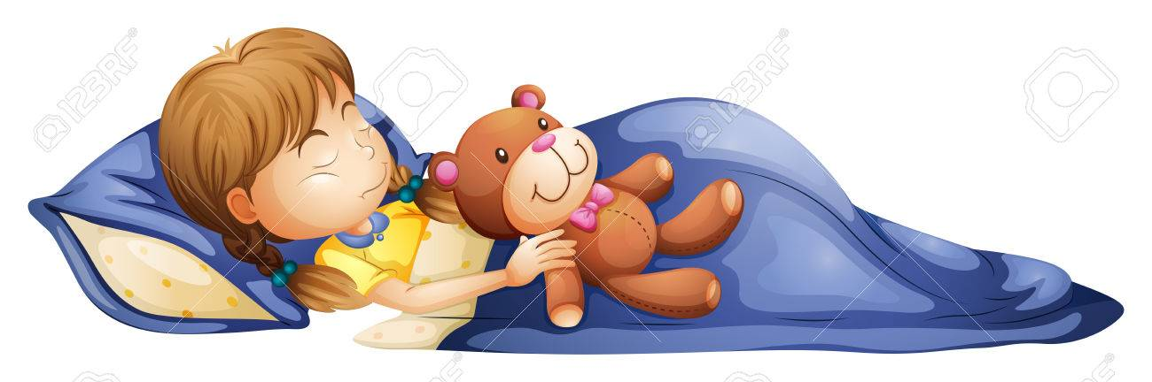 Illustration of a young girl sleeping with a toy on a white background Stock Vector - 27180475