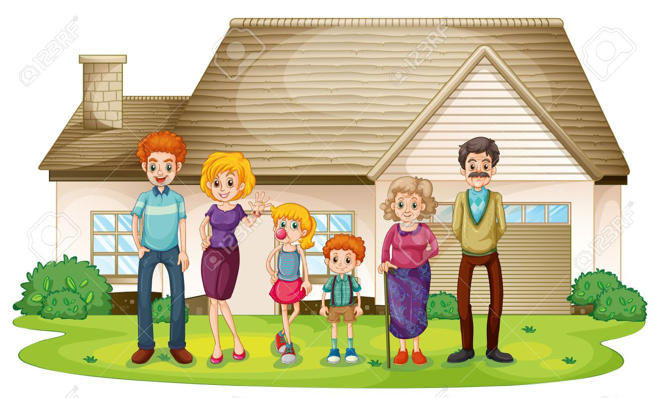 Illustration Of A Family Outside Their Big House On A White - Big cartoon house