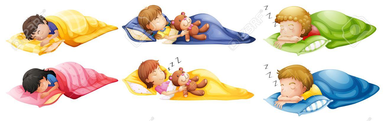 Illustration Des Enfants Qui Dorment A Poings Fermes Sur Un Fond Blanc Clip Art Libres De Droits Vecteurs Et Illustration Image 27909376