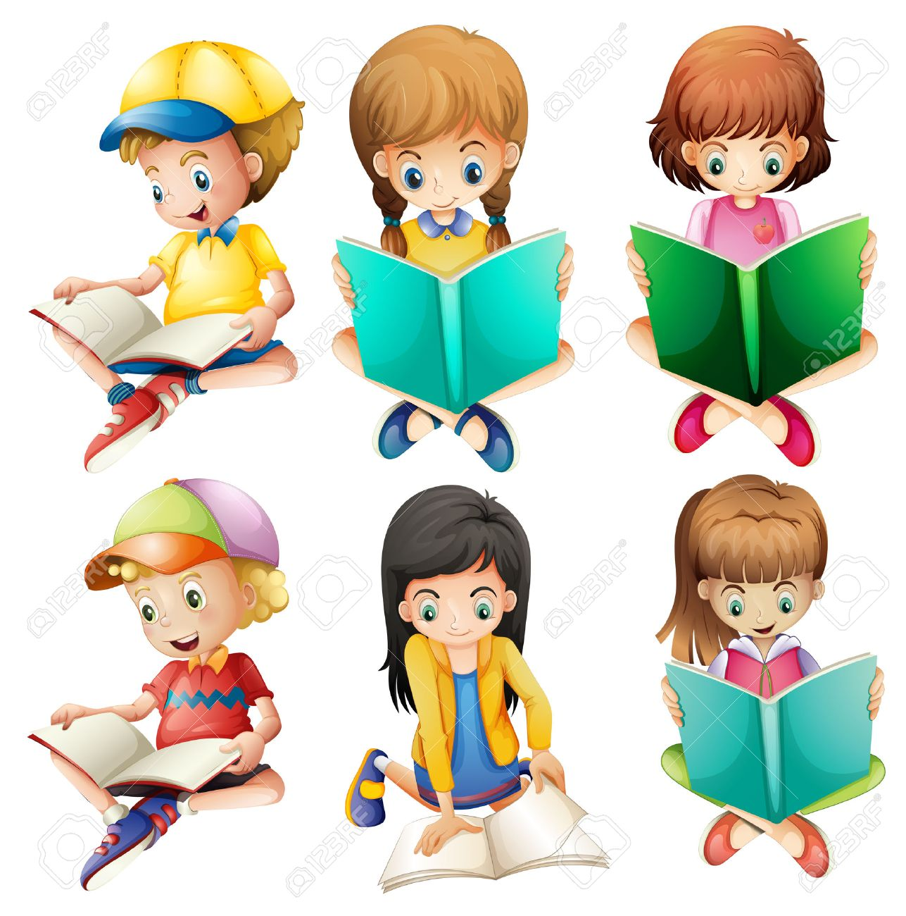 Illustration of the kids reading on a white background Stock Vector - 28193090