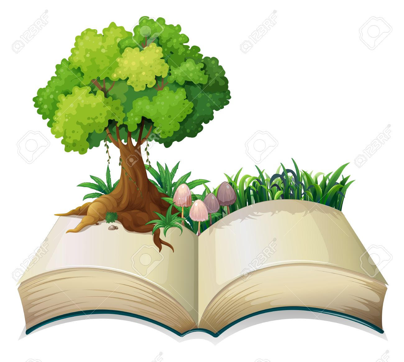 Illustration of an open book with a tree on a white background Stock Vector - 28193790