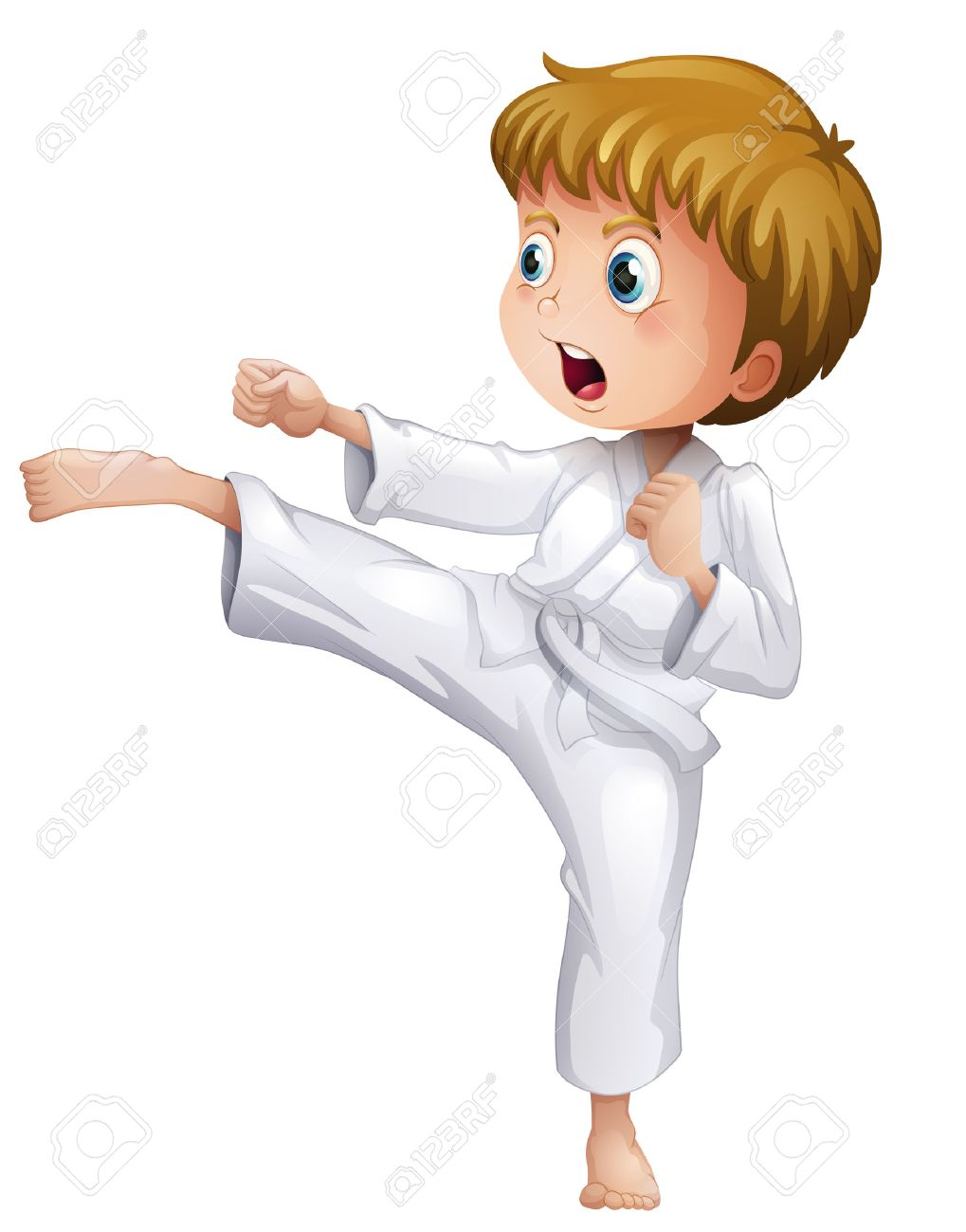 Illustration of a brave boy doing his karate moves on a white background - 28200679