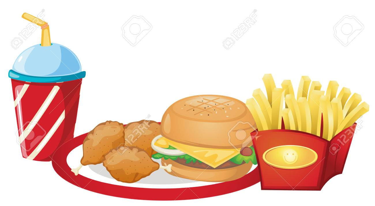 Illustration of the foods from the fastfood restaurant on a white background Stock Vector - 28201469