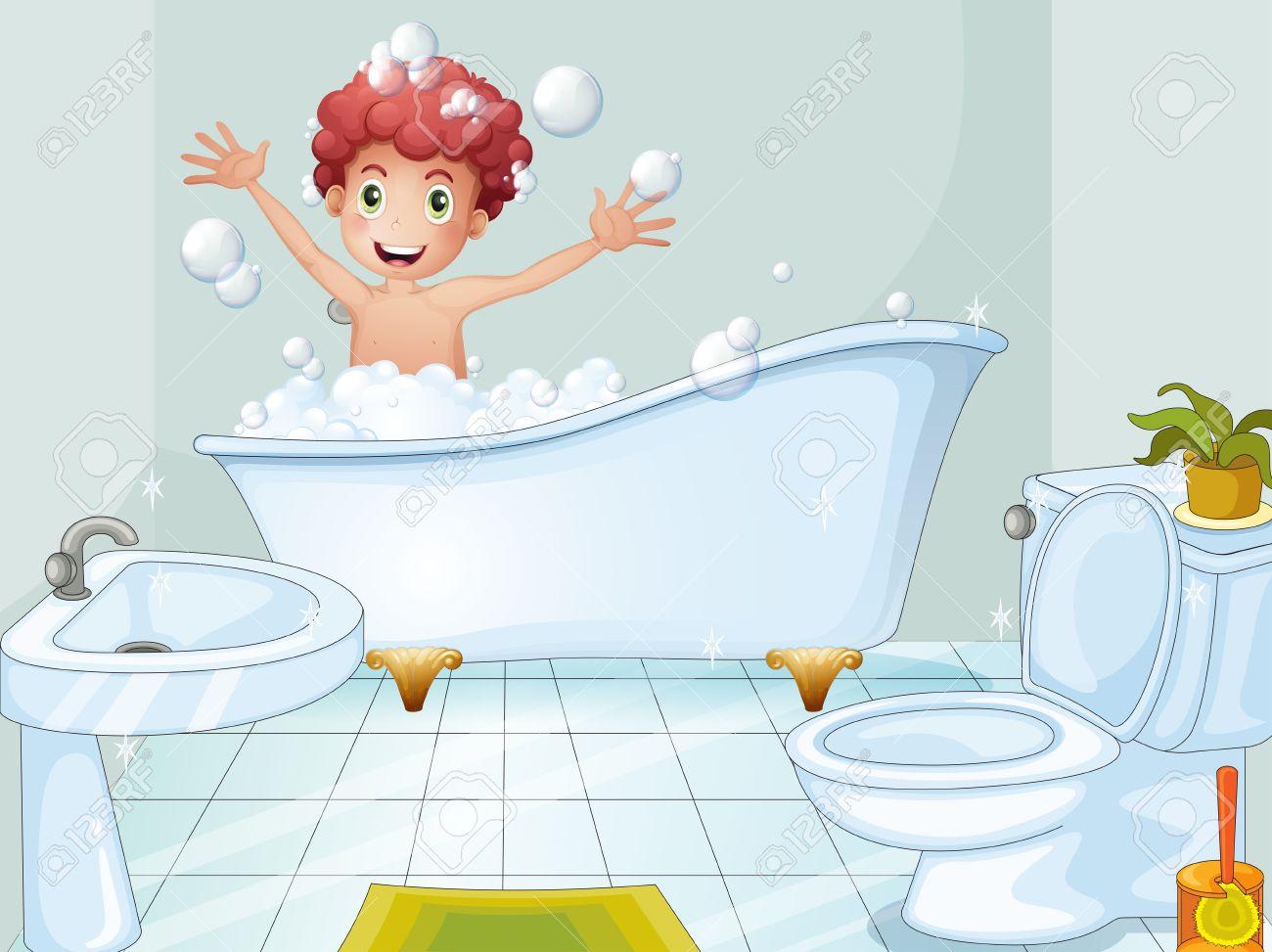 archivio fotografico illustrazione di un ragazzo carino fare un bagno