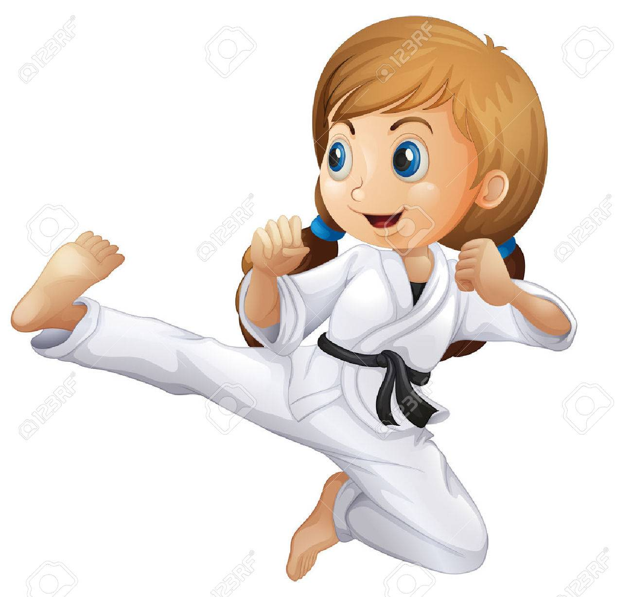 Illustration of a young girl doing karate on a white background - 28203333