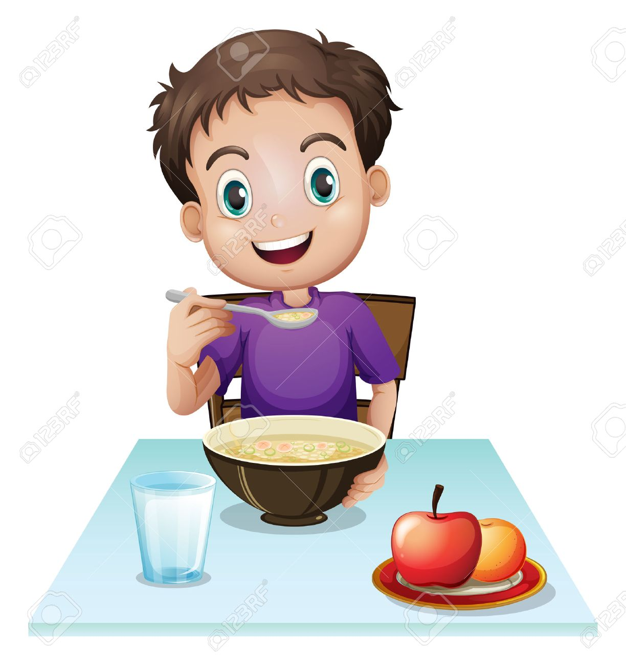 illustration of a boy eating his breakfast at the table on a