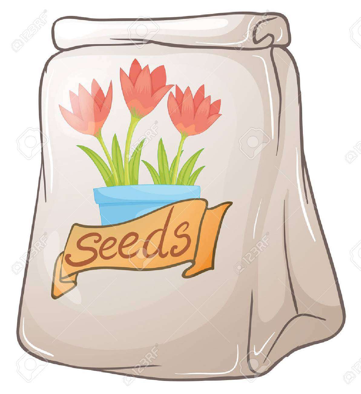 Illustration of a pack of flower seeds on a white background Stock Vector - 29111558