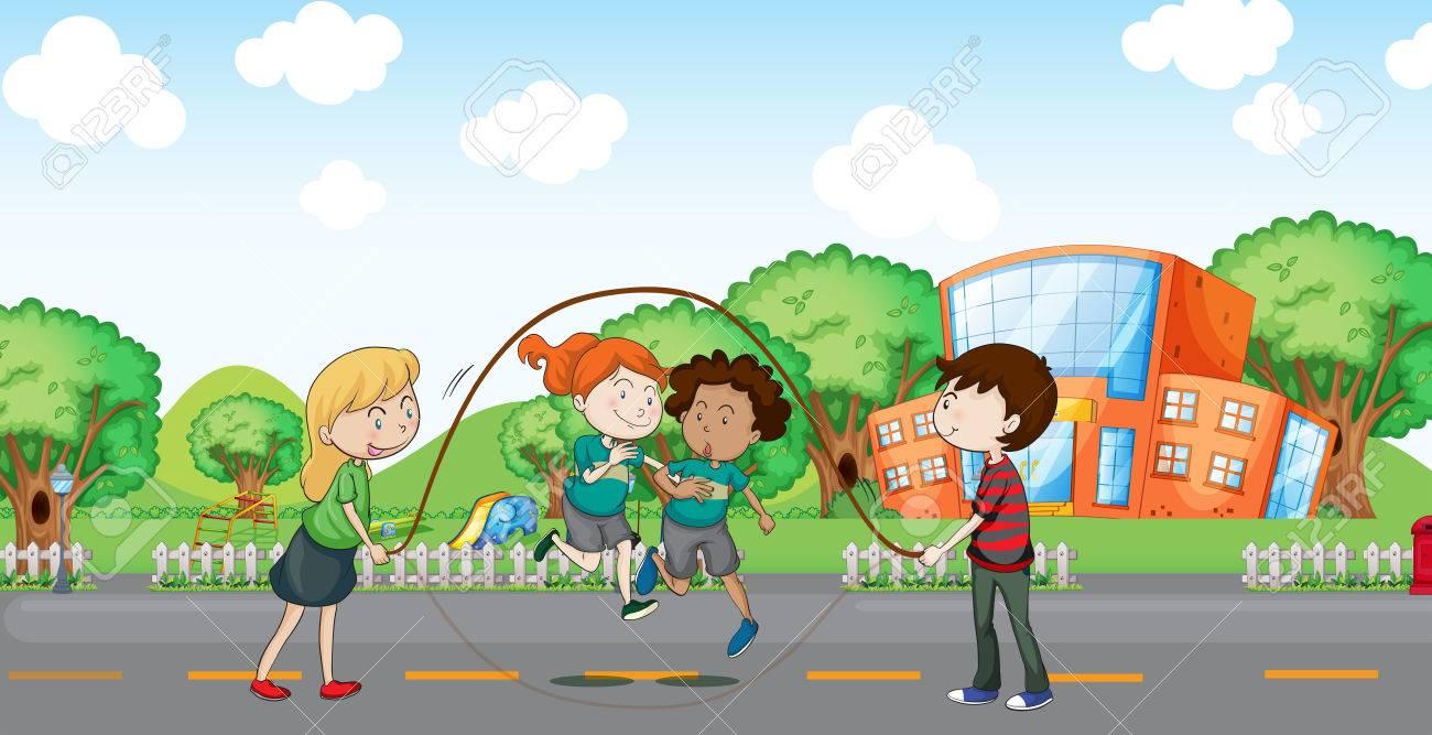 Ilustracion De Los Ninos Jugando En La Calle Ilustraciones