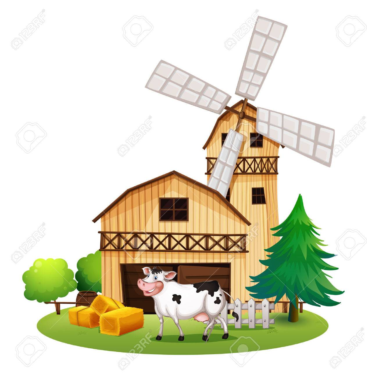 Illustration Of A Cow In Front The Barnhouse On White Background Stock Vector