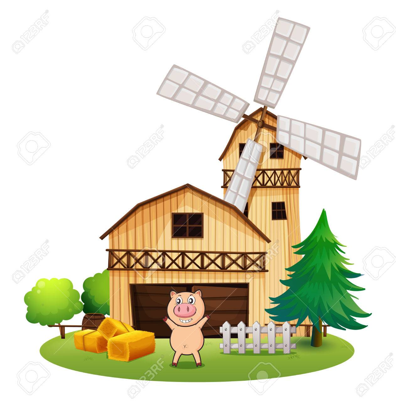 Illustration Of A Playful Pig Outside The Wooden Barnhouse With Windmill On White Background