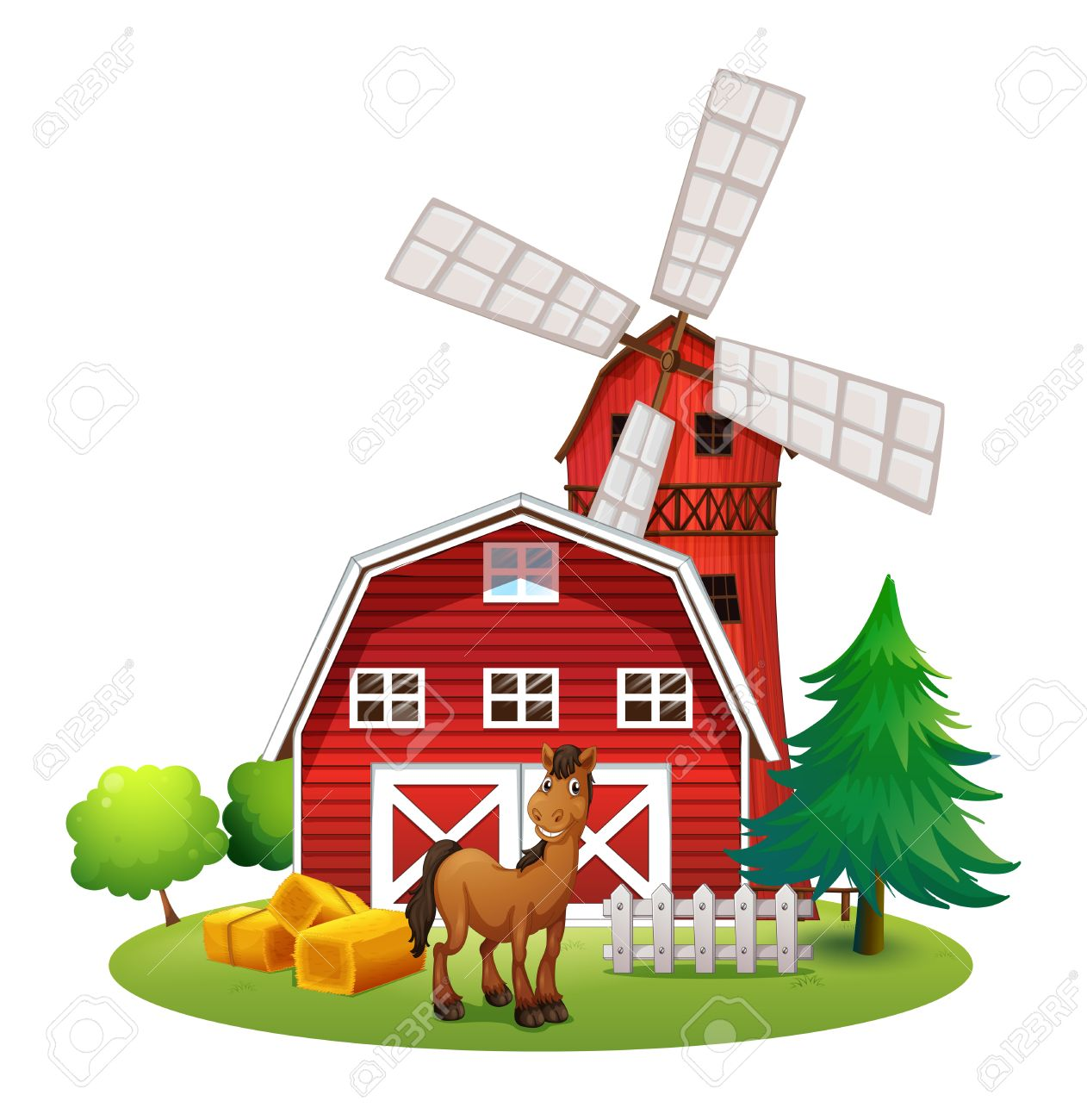 Cartoon red barn doors - Red Barn Door Illustration Of A Smiling Horse Outside The Red Barnhouse With A Windmill