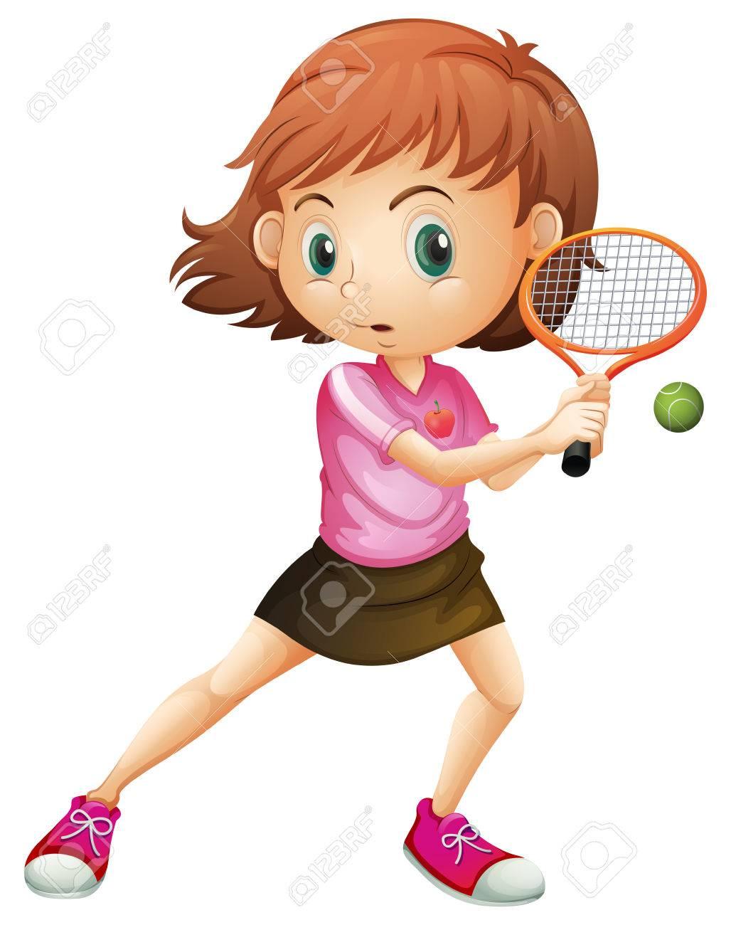 白い背景でテニスをして若い女の子のイラスト ロイヤリティフリー