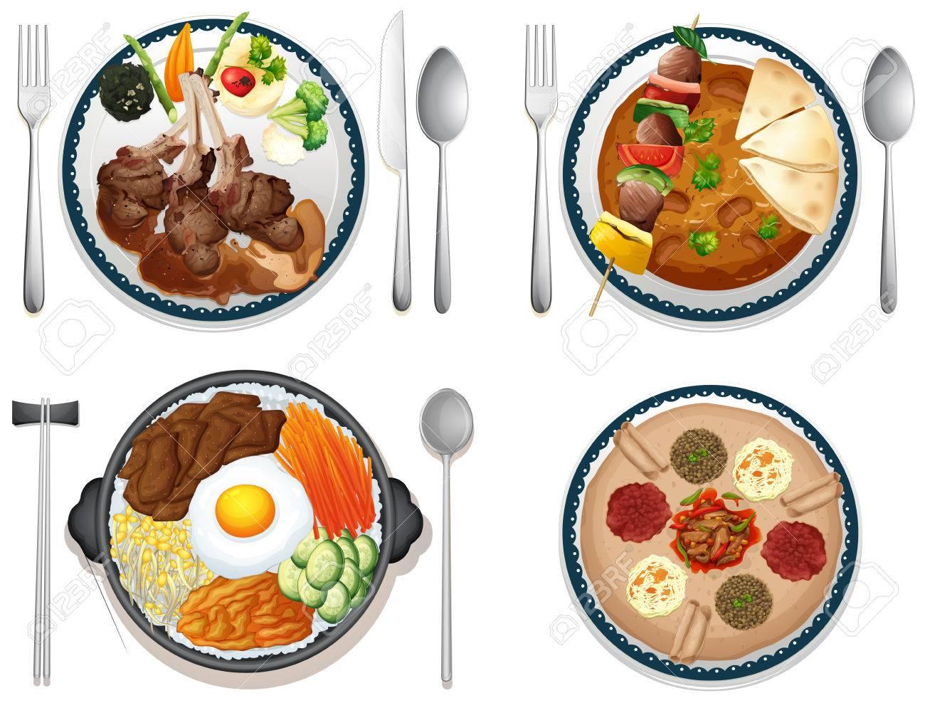 Disegno cucina internazionale : Illustrazione Di Quattro Piatti Della Cucina Internazionale ...