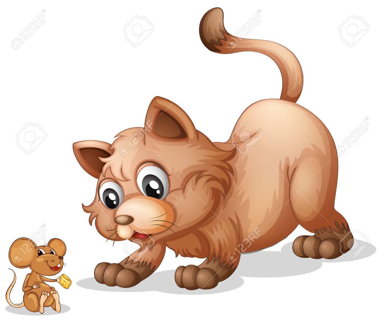 Ilustración De Un Gato Y Un Ratón Ilustraciones Vectoriales Clip Art Vectorizado Libre De Derechos Image 30598825