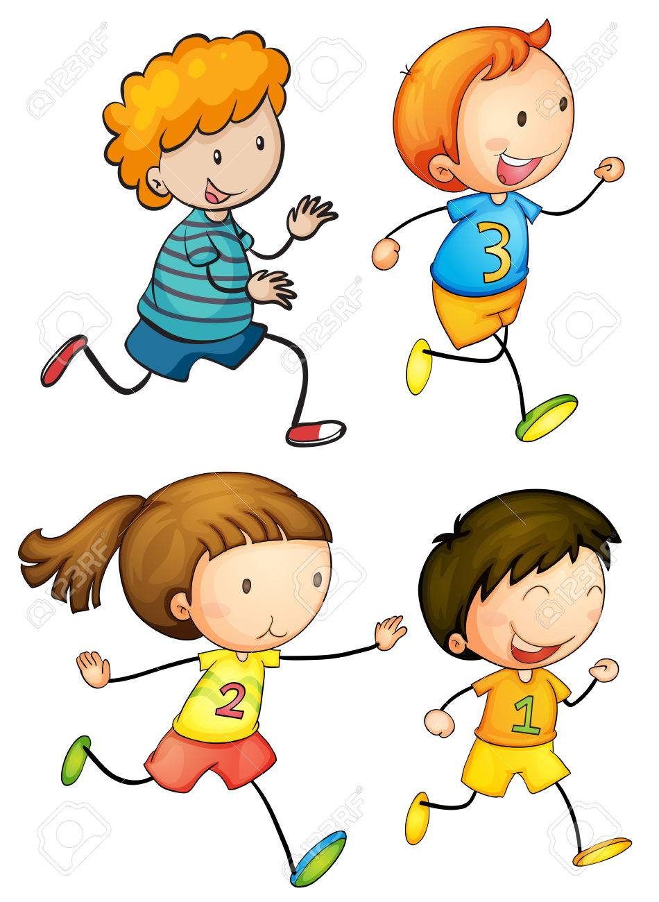 Illustration Of Simple Kids Running Royalty Free Cliparts, Vectors ...