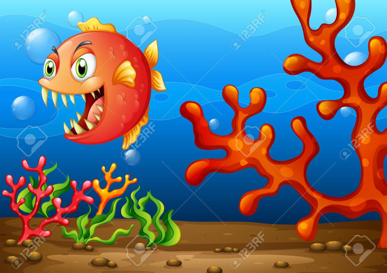 illustration of a sea monster under the ocean royalty free