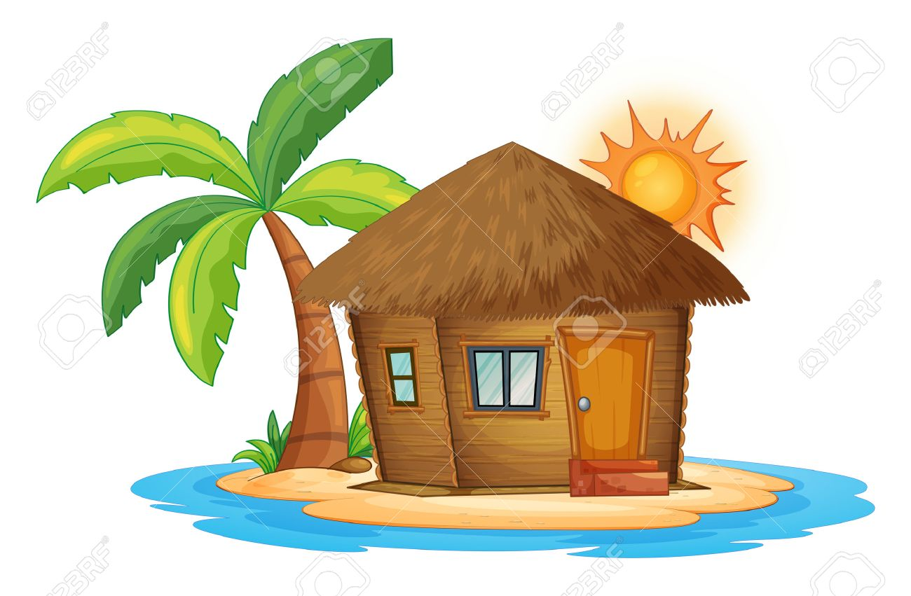 Illustration Of A Small Nipa Hut In The Island On White Background