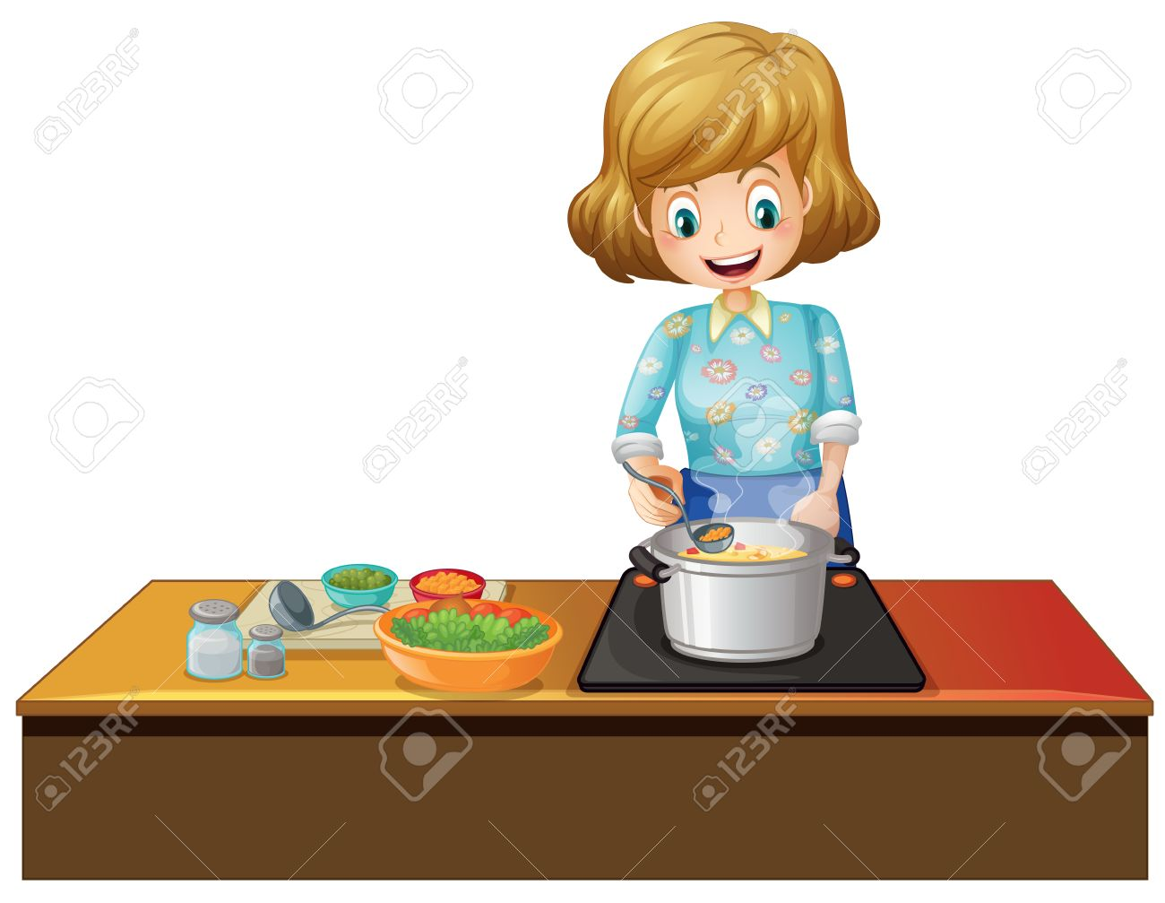 Selection of cartoons on cooking kitchens food and eating - Ilustration Of A Woman Cooking In A Kitchen Stock Vector 30782370