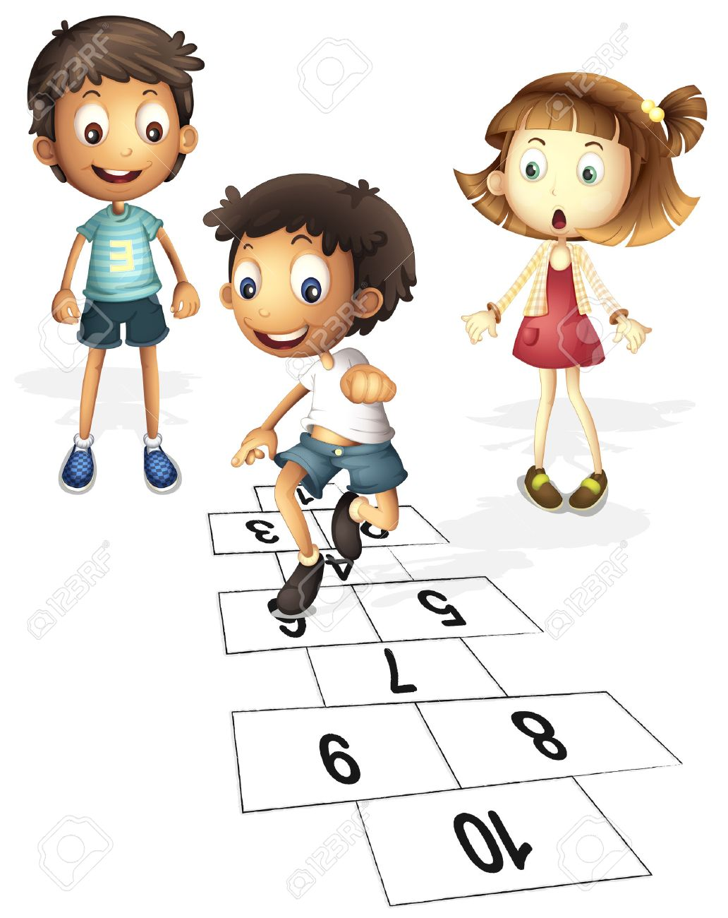 illustration of children hopping on hopscotch royalty free cliparts