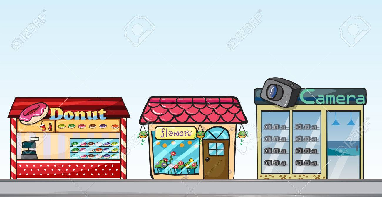 3 つの異なるお店のイラスト ロイヤリティフリークリップアート