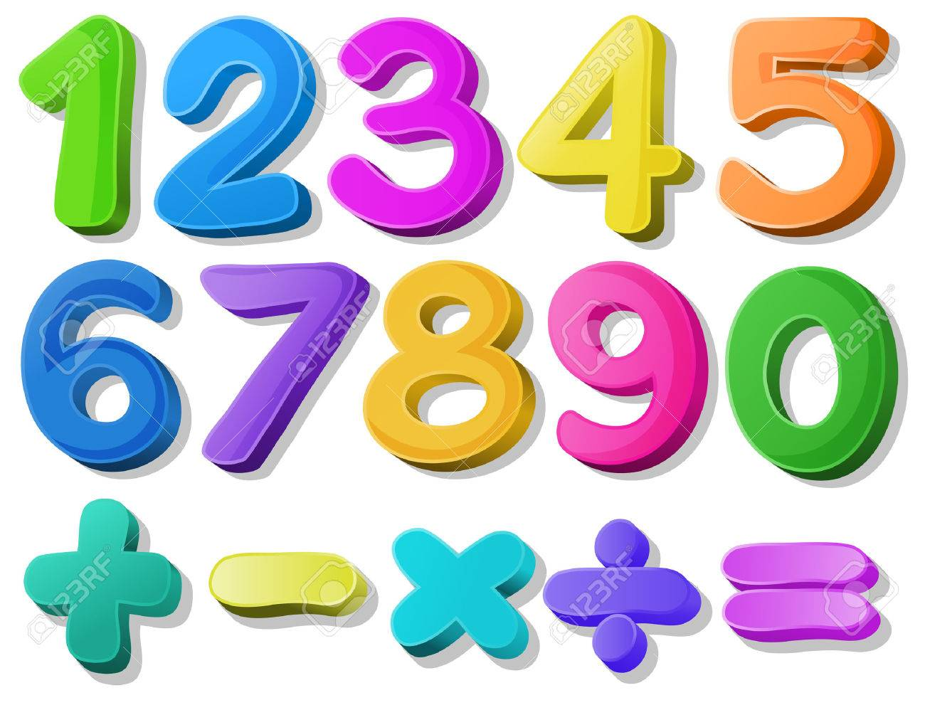 Illustration of multicolored number - 30923087