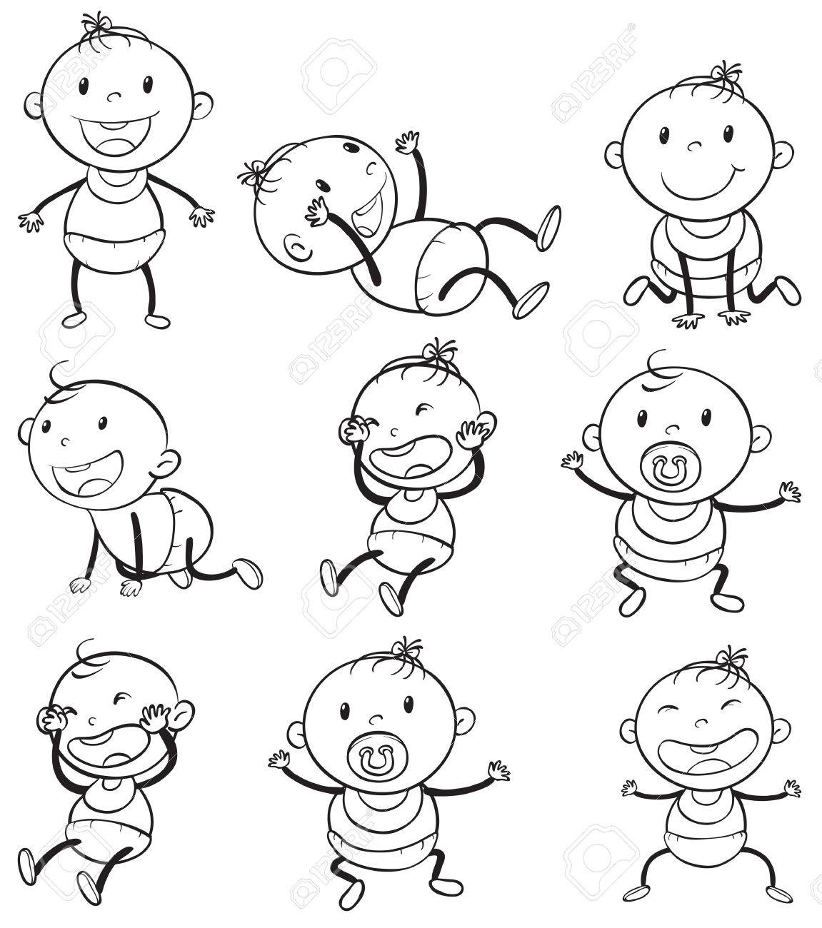 Illustration of the babies with different moods on a white background Stock  Vector - 30923047