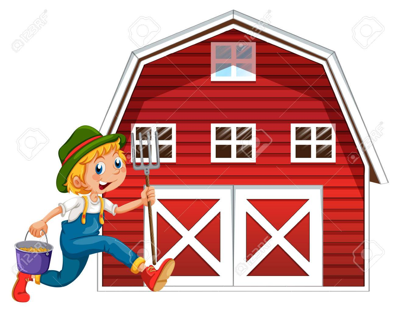 Illustration Of A Farmer And Barn Stock Vector